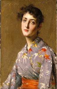 William Merritt Chase - 女孩在 日本  服装