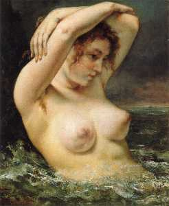 Gustave Courbet - 女子 在  的  波浪