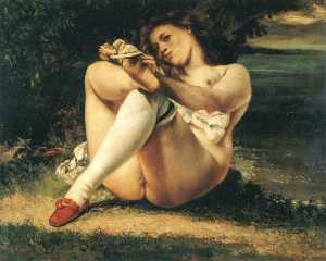 Gustave Courbet - 白丝袜的女人