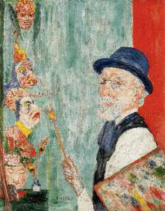 James Ensor - Self-Portrait 带口罩