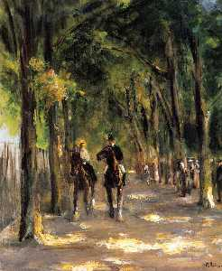Max Liebermann - Tree-Lined 大街 有两个 骑马