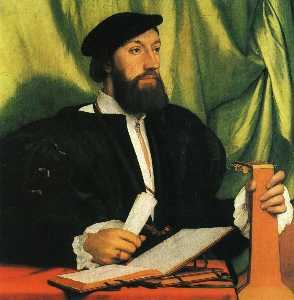 Hans Holbein The Younger - 未知gengleman 与  音乐  书籍  和  琵琶