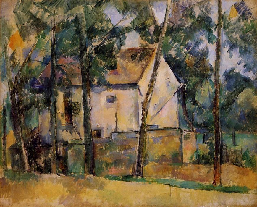 房子和树, 油画 通过 paul cezanne (1839-1906