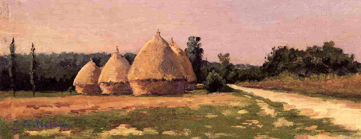 景观与干草堆, 油画 通过 <strong>gustave</strong> caillebotte 1848