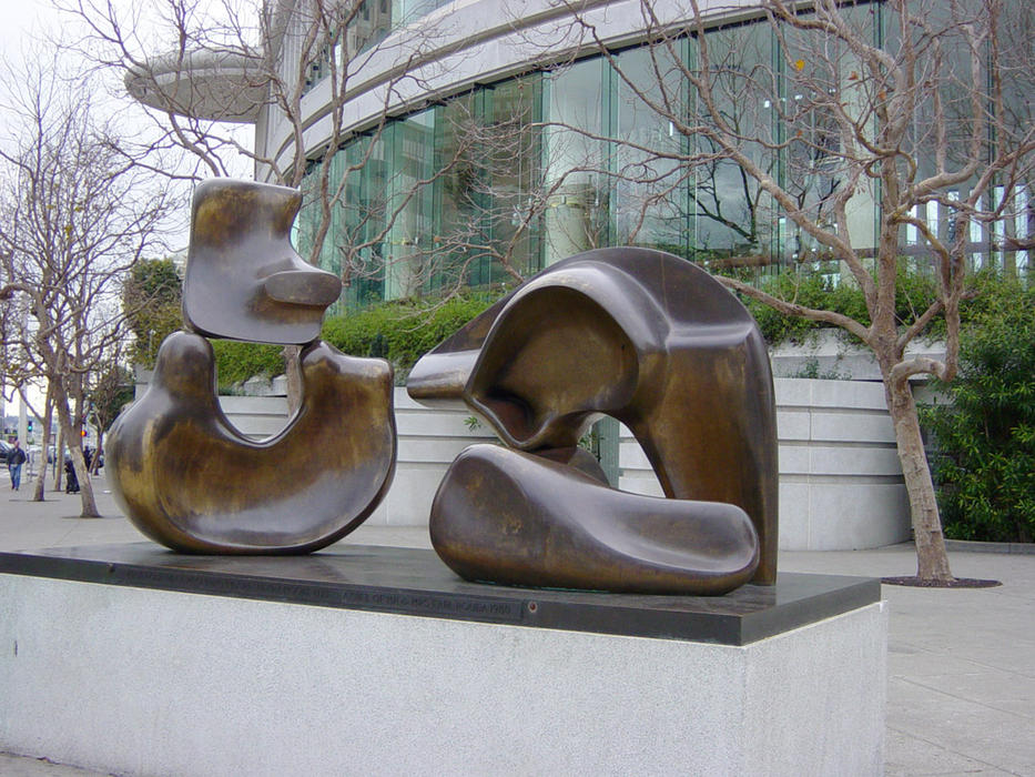 henrymoore5piecefigure, 雕塑 通过 Henry Moore (1898-1986, United Kingdom)