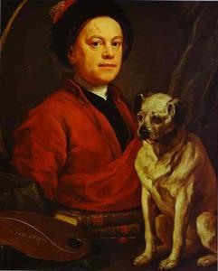 William Hogarth - Self-Portrait 与 Pug-Dog