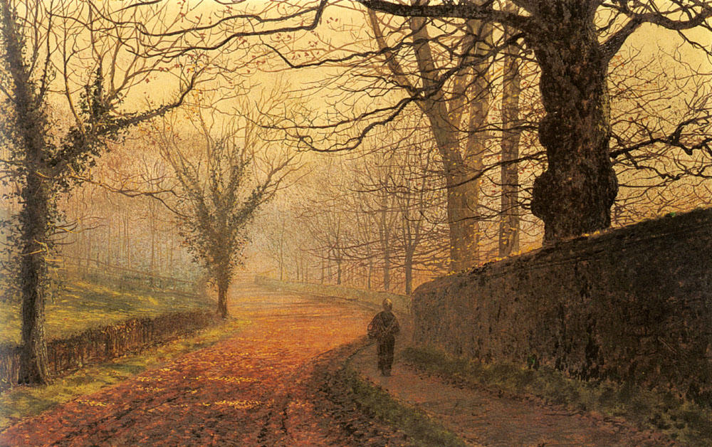 十一月下午,芮公园 通过 John Atkinson Grimshaw (1836-1893, United Kingdom)