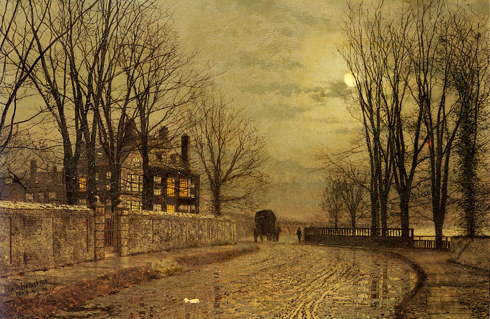 的 `turn`  的  道路 通过 John Atkinson Grimshaw (1836-1893, United Kingdom)