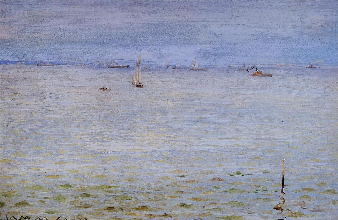 海景, 油在面板上 通过 William Merritt Chase (1849-1916, United States)