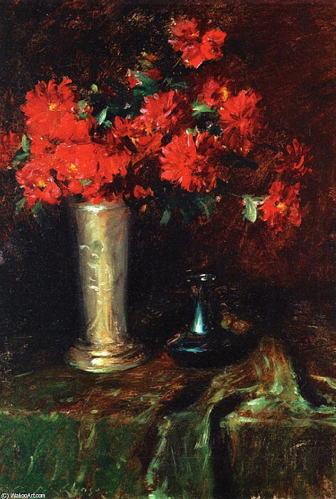 静物 -   花儿 , 油画 通过 William Merritt Chase (1849-1916, United States)