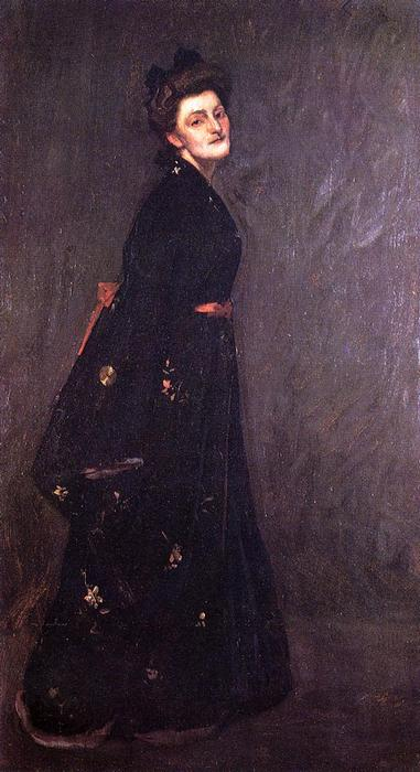 黑色和服, 油画 通过 William Merritt Chase (1849-1916, United States)