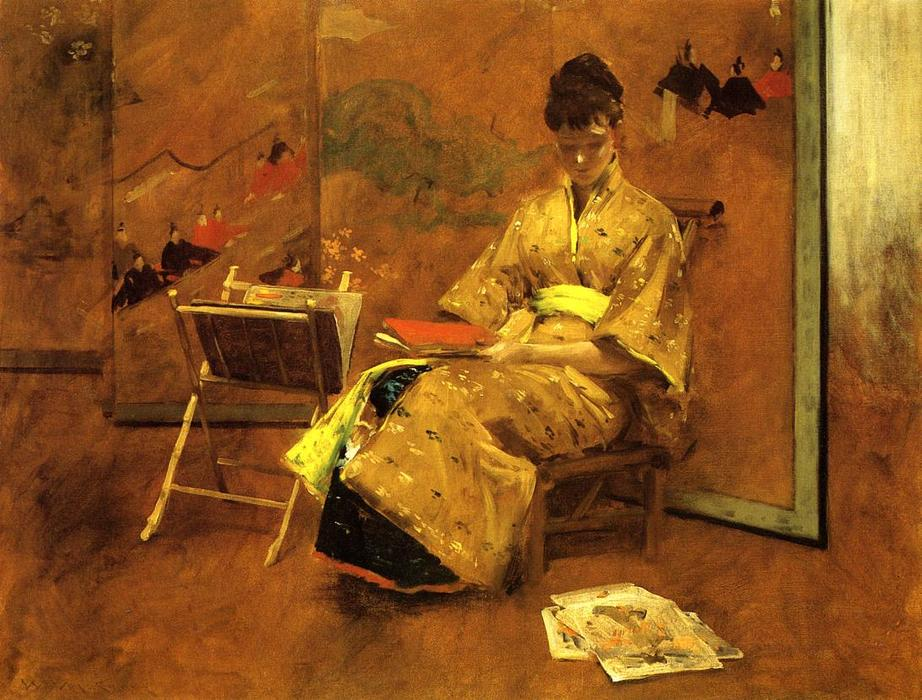 和服, 油画 通过 William Merritt Chase (1849-1916, United States)