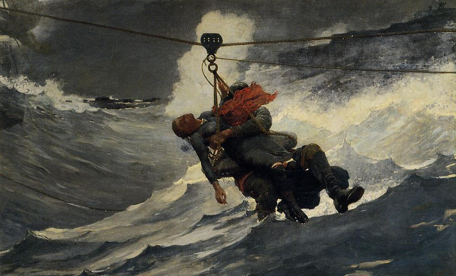 生命线, 1884 通过 Winslow Homer (1836-1910, United States) | 畫複製 Winslow Homer | ArtsDot.com