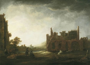 Aelbert Jacobsz Cuyp - Landscape-with-the-Ruins-of