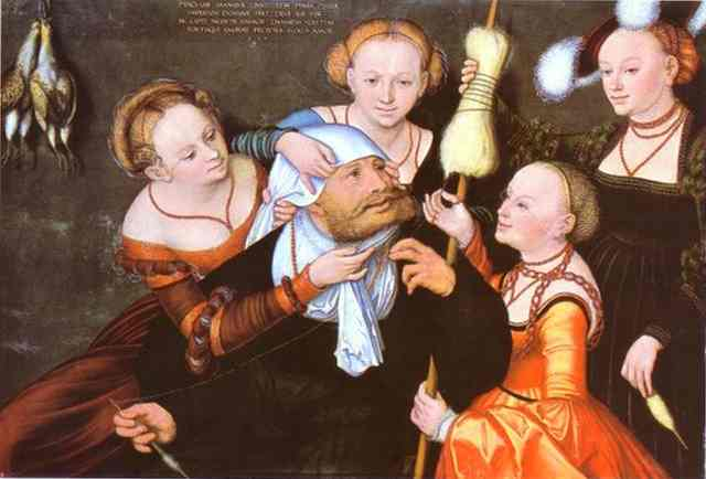 赫拉克勒斯和Omphale, 油 通过 Lucas Cranach The Elder (1472-1553, Germany)