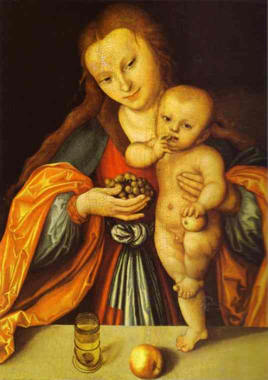 麦当娜和儿童 1  , 油 通过 Lucas Cranach The Elder (1472-1553, Germany)