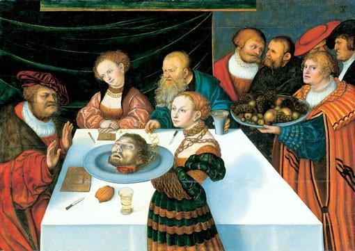希律王的盛宴, 油 通过 Lucas Cranach The Elder (1472-1553, Germany)