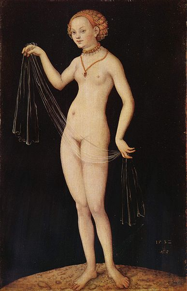 金星, 油 通过 Lucas Cranach The Elder (1472-1553, Germany)