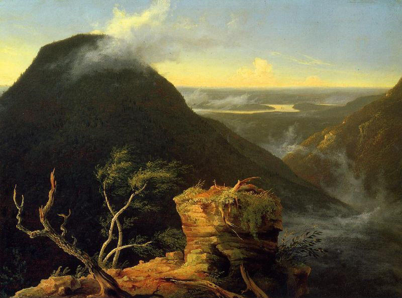 sunny`  上午  上 哈德森  河, 油在面板上 通过 Thomas Cole (1801-1848, United Kingdom)