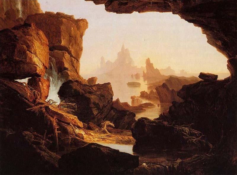 下沉 的  的  水域  的  的  洪水 , 1829 通过 Thomas Cole (1801-1848, United Kingdom)