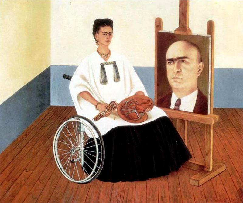 Sef-portrait 与 医生 胡安 Farill, 油 通过 Frida Kahlo (1907-1954, Mexico)