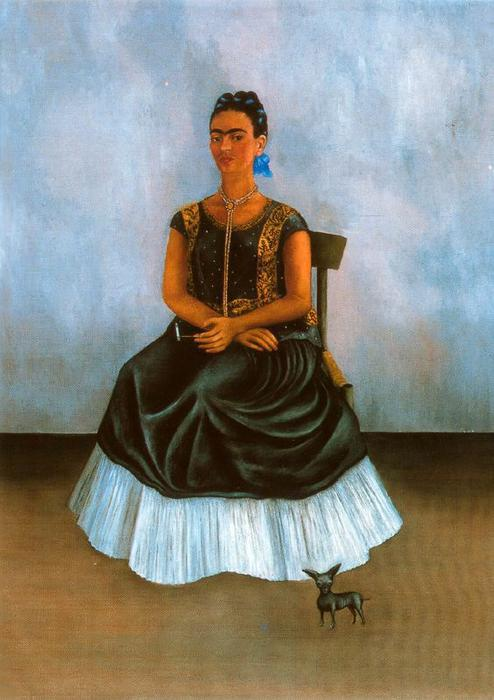 自画像与Itzcuintli, 油 通过 Frida Kahlo (1907-1954, Mexico)