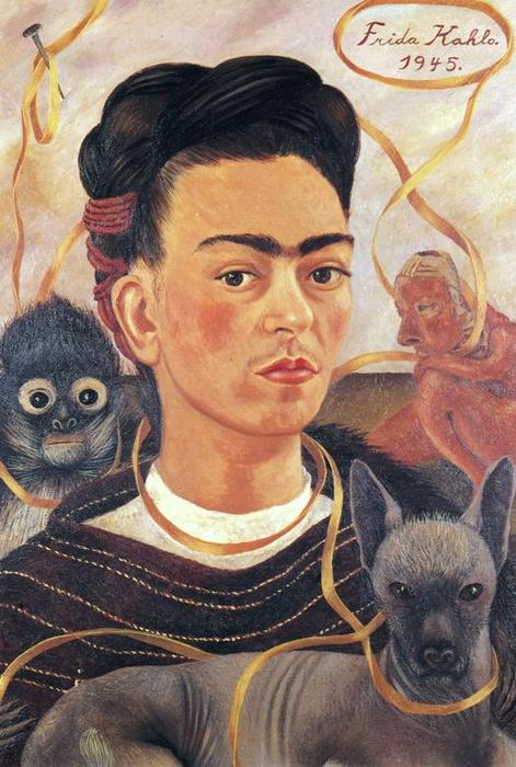 自画像与  小 `monkey`, 油 通过 Frida Kahlo (1907-1954, Mexico)