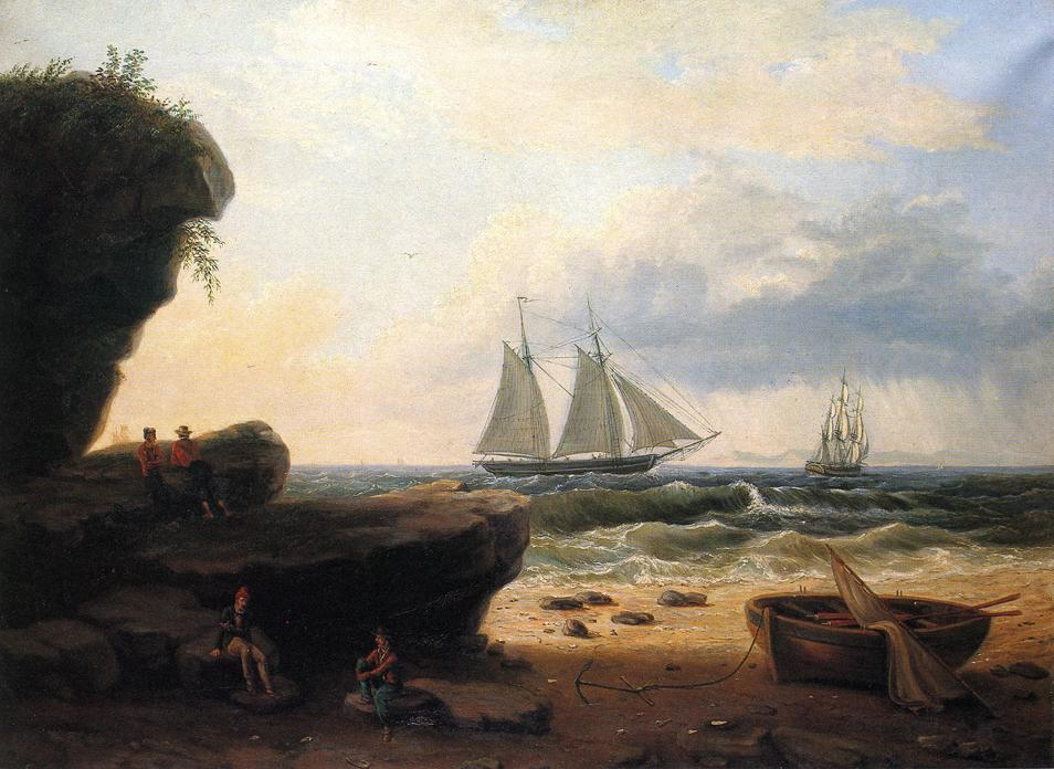 沿着海岸航行, 油画 通过 Thomas Birch (1779-1851, United Kingdom)