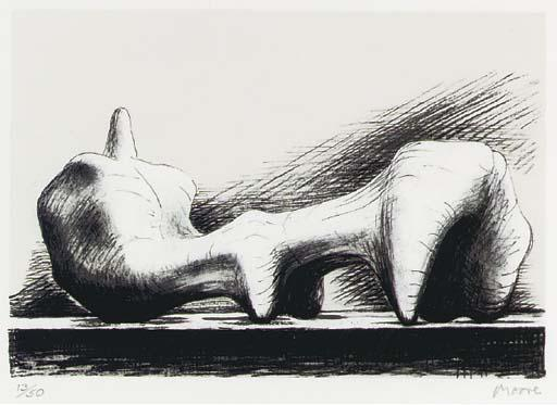 斜倚  图 7, 油 通过 Henry Moore (1898-1986, United Kingdom)