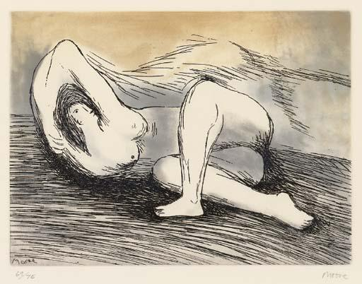 斜倚裸体 通过 Henry Moore (1898-1986, United Kingdom) | 傑作拷貝 | ArtsDot.com