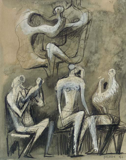 坐在 数字 1, 油 通过 Henry Moore (1898-1986, United Kingdom)