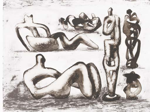 六雕塑理念 通过 Henry Moore (1898-1986, United Kingdom) | 幀打印 | ArtsDot.com