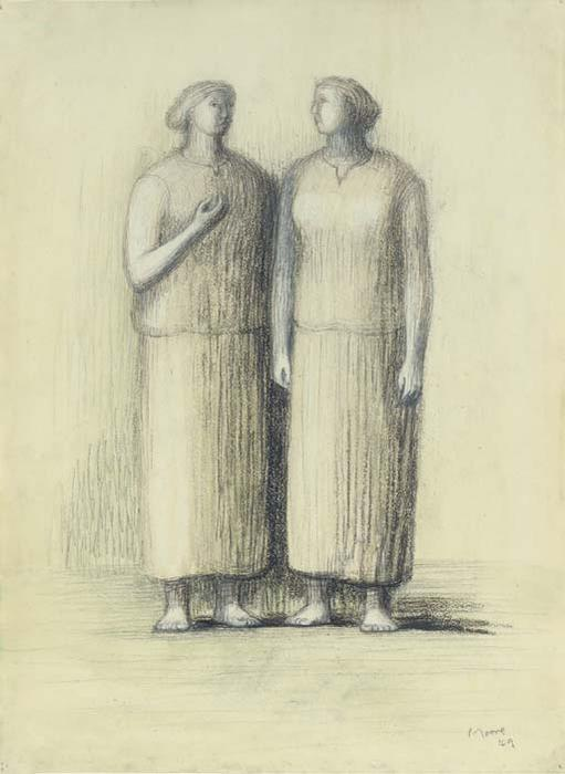 两 妇女, 油 通过 Henry Moore (1898-1986, United Kingdom)