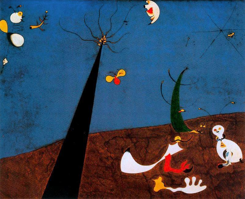 Dialogo 德 insectos, 油 通过 Joan Miro (1893-1937, Spain)