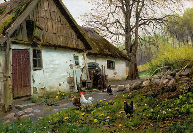 Bromolle 农场  与 鸡, 油 通过 Peder Mork Monsted (1859-1941, Denmark)