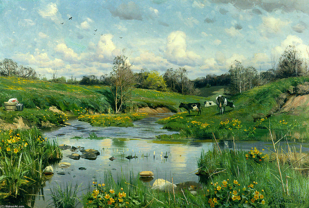 奶牛放牧, 油 通过 Peder Mork Monsted (1859-1941, Denmark)