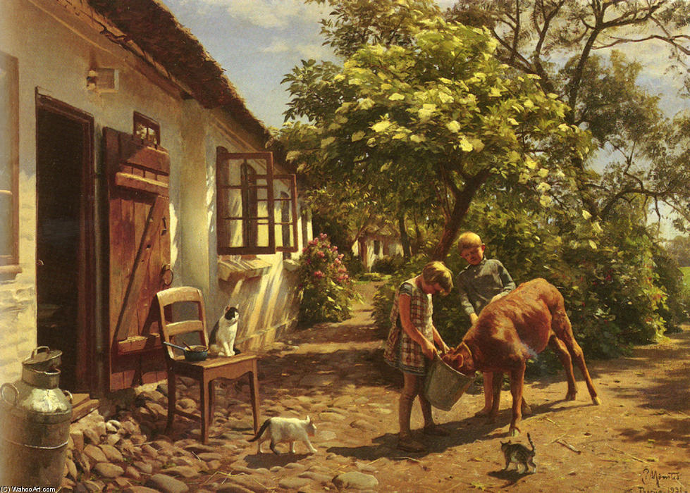 饲喂小牛 通过 Peder Mork Monsted (1859-1941, Denmark) | ArtsDot.com