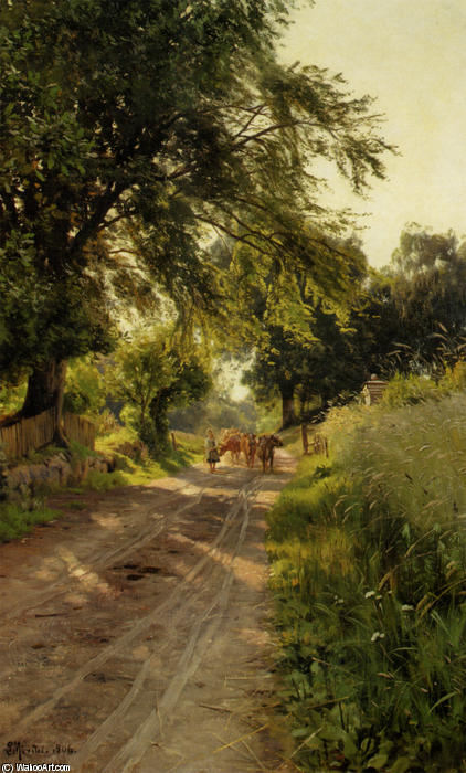 Koerne Traekkes Hjem,海勒拜克, 油 通过 Peder Mork Monsted (1859-1941, Denmark)