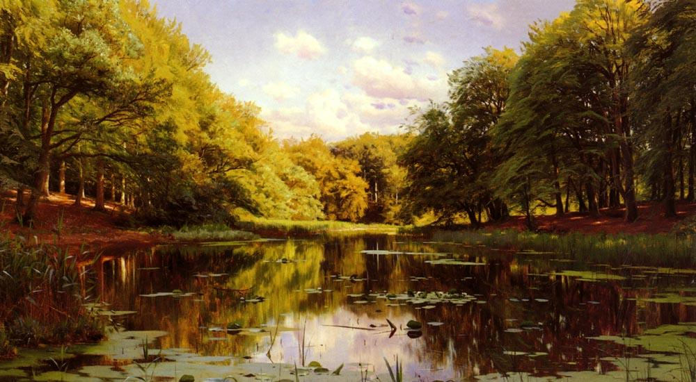 河流景观 2   通过 Peder Mork Monsted (1859-1941, Denmark) | 傑作拷貝 | ArtsDot.com