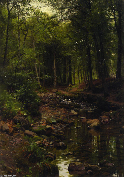 Skovstraekning, 油 通过 Peder Mork Monsted (1859-1941, Denmark)