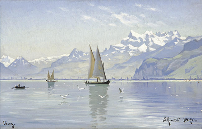 观湖,沃韦(Vevey), 油 通过 Peder Mork Monsted (1859-1941, Denmark)