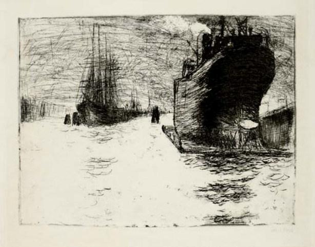 汉堡,Reiherstiegdock 通过 Emile Nolde (1867-1956, Germany) | 傑作拷貝 | ArtsDot.com