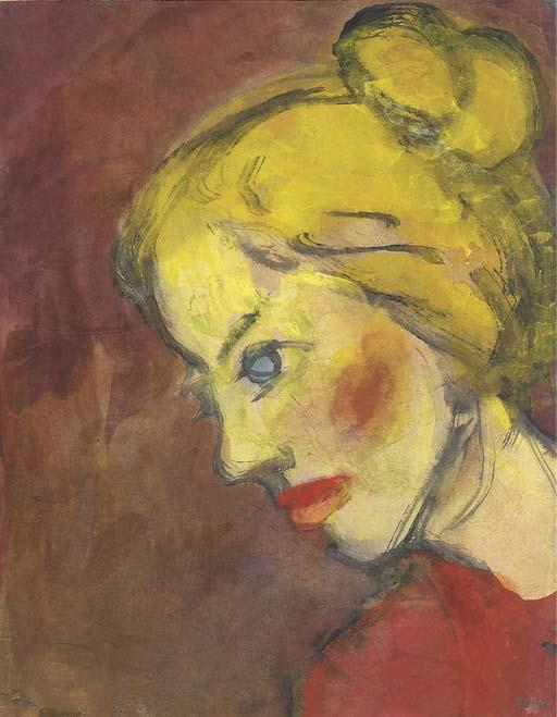 肖像einer弗劳 通过 Emile Nolde (1867-1956, Germany)