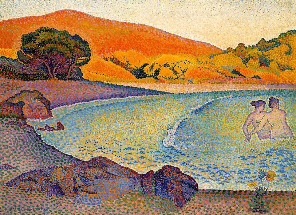 泳客 通过 Henri Edmond Cross (1856-1910, France)