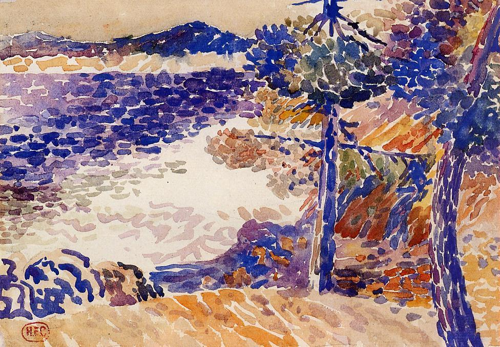 松树海边 1   通过 Henri Edmond Cross (1856-1910, France)
