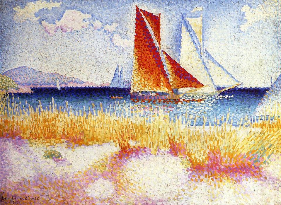帆船赛, 油画 通过 Henri Edmond Cross (1856-1910, France)