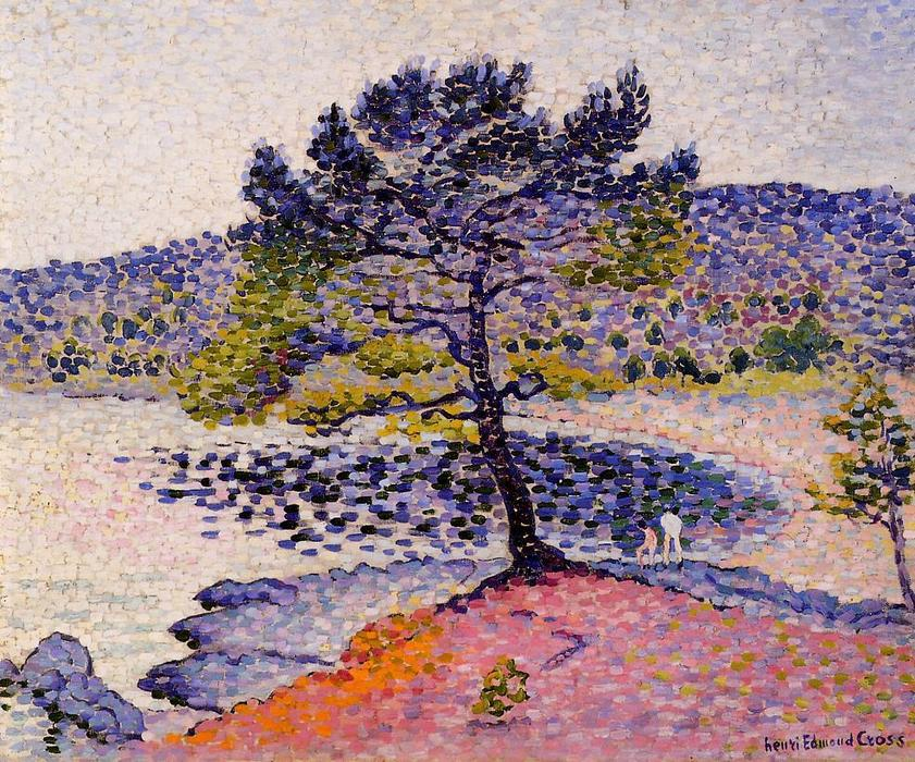 的 河岸, 晚上 通过 Henri Edmond Cross (1856-1910, France)