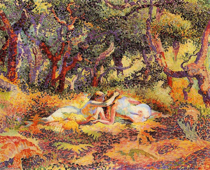森林, 油画 通过 Henri Edmond Cross (1856-1910, France)