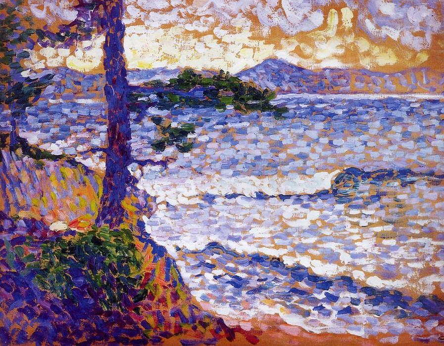 地中海海岸, 油在面板上 通过 Henri Edmond Cross (1856-1910, France)