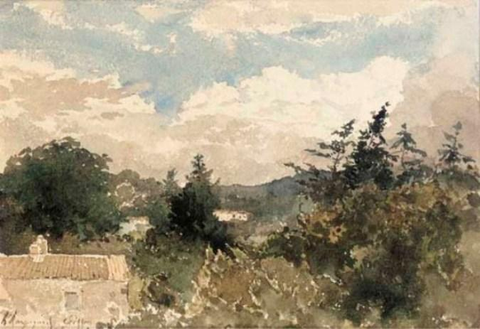 一个 丘陵景观 用 房子 前台 ;  和 冬天 landscape 通过 Henri-Joseph Harpignies (1819-1916, France)